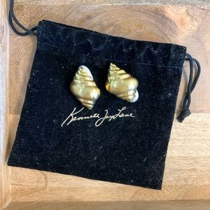 Kenneth Jay Lane Gold Seashell Clip On Earrings